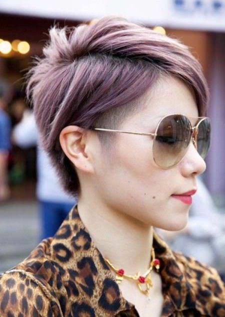 Layered brown purple pixie different versions of the pixie