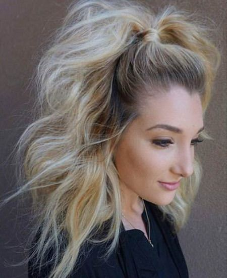 half up half down medium ponytail mid length hairstyles