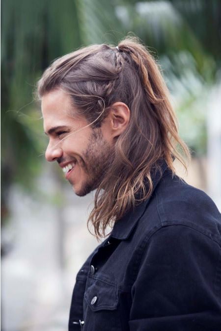 half up pony long hairstyles for men