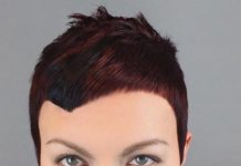 mahogany pixie cut for round face