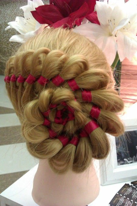 ribbon braid updo mid-length hairstyles