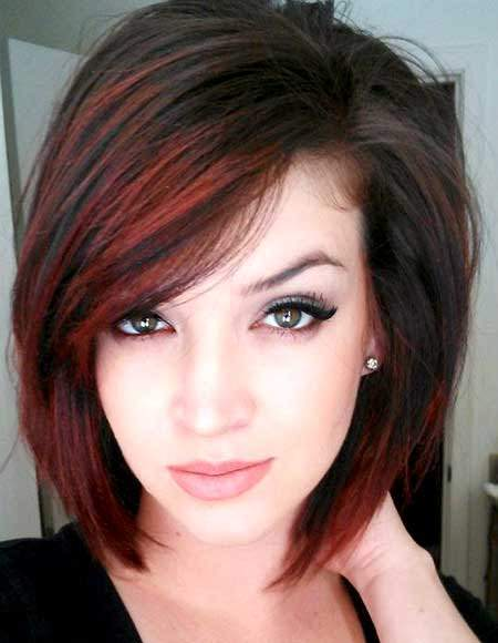 Red on black best short hair with highlights