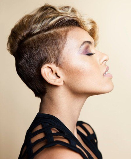 Shaved side women hairstyle pixie haircuts with bangs