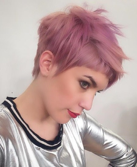 colored choppy cut pixie haircuts with bangs