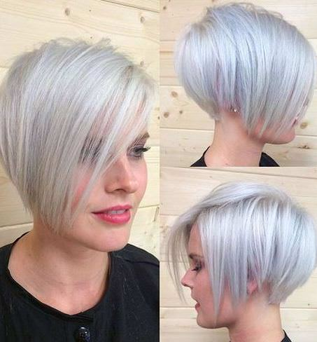 gorgeous silver pixie with heart shape face pixie haircuts with bangs