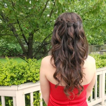 half up waterfall braid valentines day hairstyles