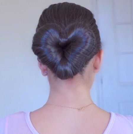 heart shaped bun valentines day hairstyles