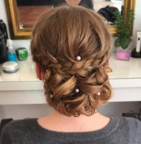low pearled updos for long hair