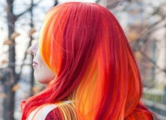 pink red with yellow highlights sensational red hair color