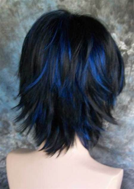 short choppy hairstyle with blue streaks short hairstyles for women