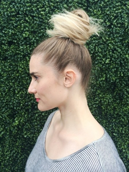 top knot updos for long hair