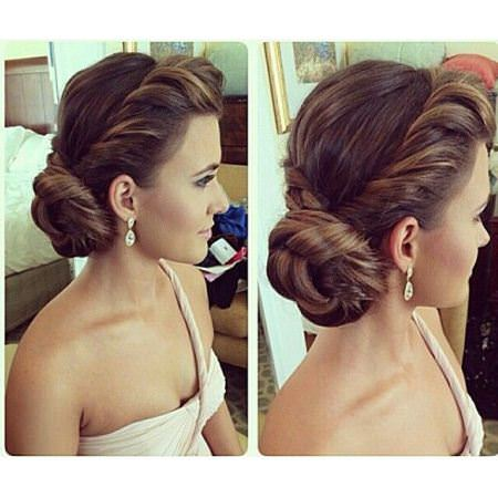 twisted side roll updos for long hair