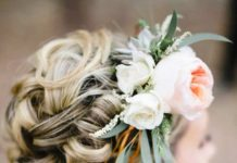 Curled floral bun hairstyles for long hair