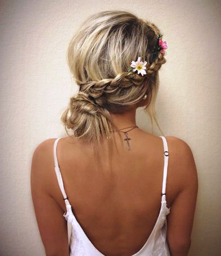 Messy braided low bun updos for curly hair