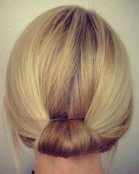 Pretty simple knot at the nape updos for short hair