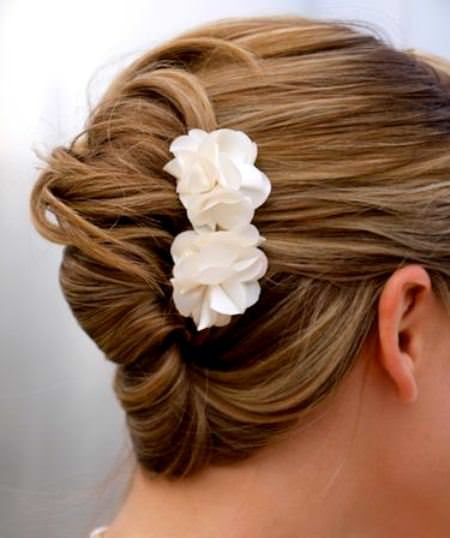 Simple french twist with flower updos for short hair