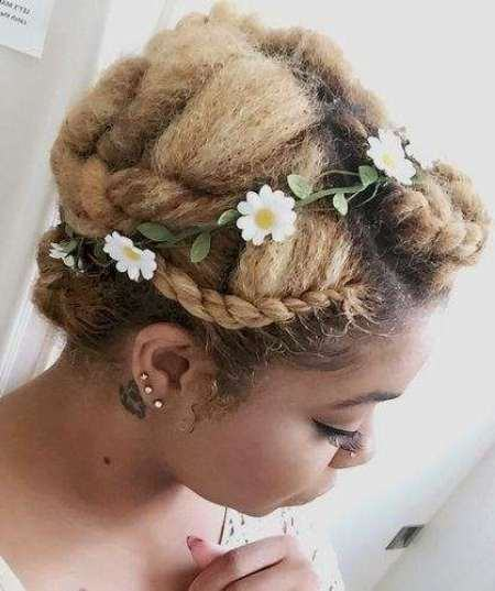 Spring blossom twisted crown updos for curly hair