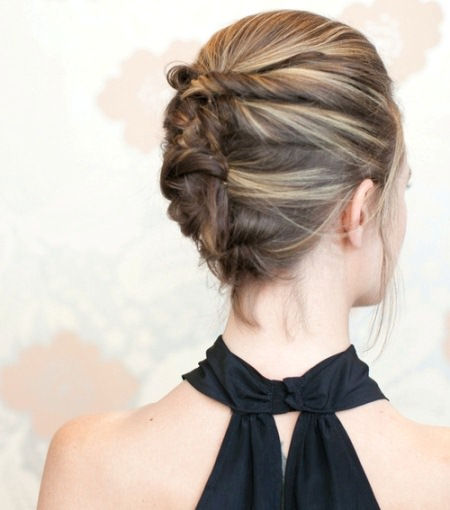 Twist and pin messy updo updos for short hair