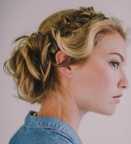 Twisted bun with side braid updos for curly hair