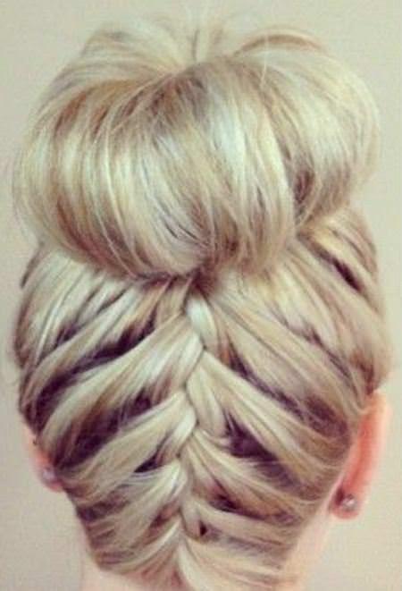 Upside down braid updos for short hair