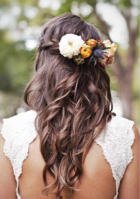 Waterfall braid with flowers wedding hairstyles for medium hair
