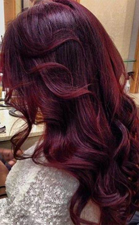 aubergine shades of red hair for women