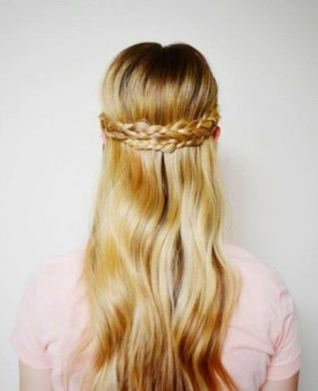 blonde half up crown crown braids