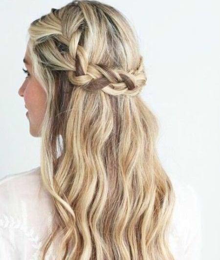 boho half up crown braids
