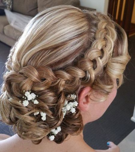 braid and low chignon wedding hairstyles for long hair
