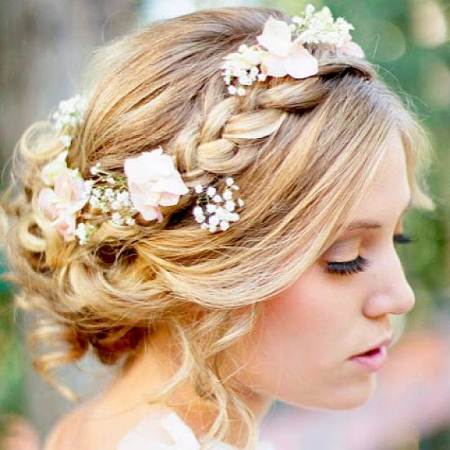 braided bun wedding hairstyles for medium hair