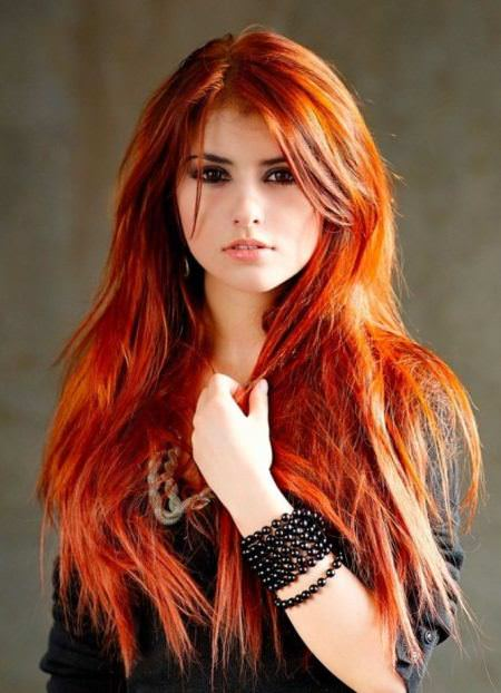 bright orange shades of red hair for women