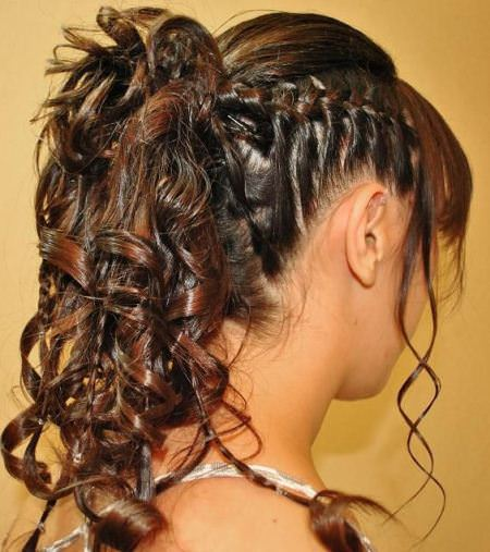 curly ponytail with side braid style curly hair