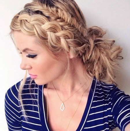 double braid updo headband hairstyles