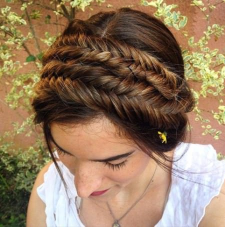 double braided fishtail crown updo brunette hairstyles