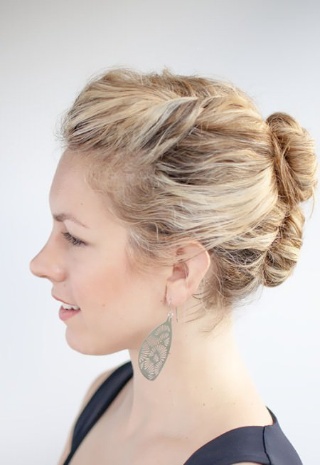 double curly bun updos for curly hair