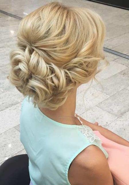 elegant blonde updos for curly hair