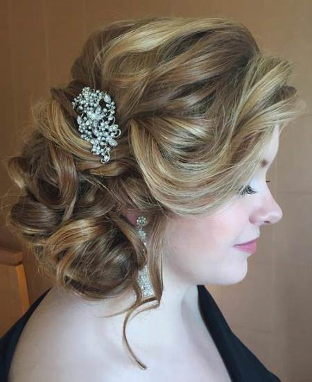 fancy free messy side braid updo wedding hairstyles for long hair