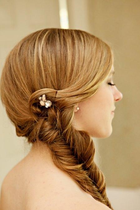 fishtail braid wedding hairstyles for medium hair