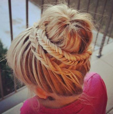 fishtail braided bun braidstyles for girls