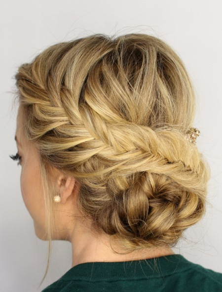 fishtail braided updo hairstyles for long thick hair