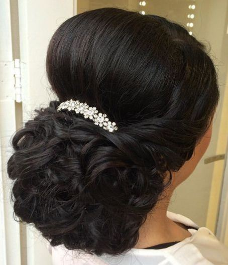 full and fancy low chignon wedding hairstyles for long hair