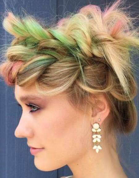 funky multicolored crown braids