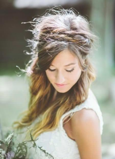 half updo with braided head band wedding hairstyles for long hair
