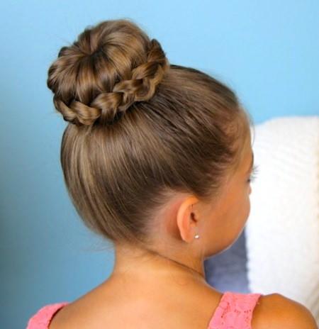 high bun with braided hair wrap braidstyles for girls