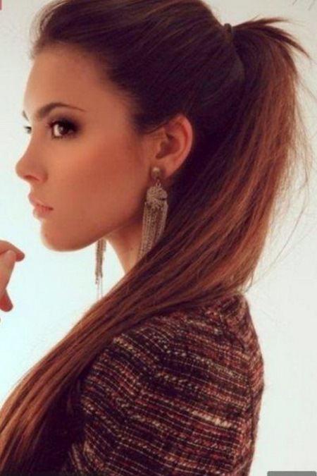 high ponytail brunette hairstyles