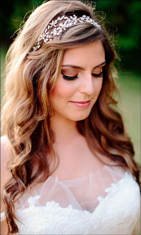 jewelled headband style wedding hairstyles for medium hair