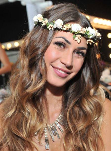 long hair with floral headband hairstyles