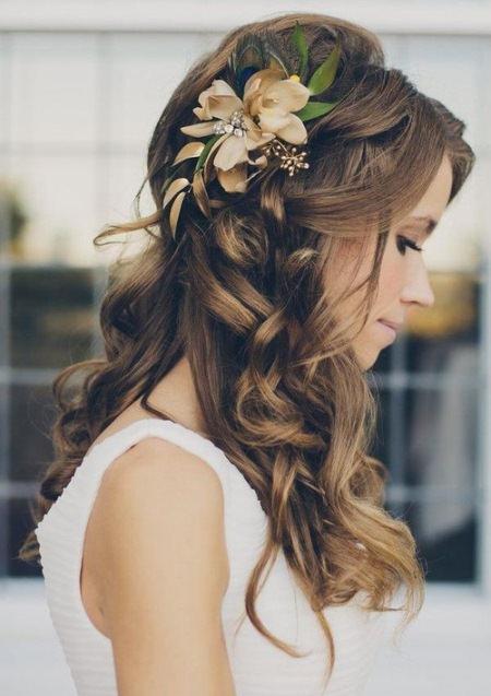 long romantic curls wedding hairstyles for medium hair