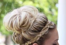 messy bun with braided headband hairstyles