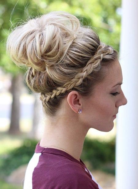 messy bun with braided headband hairstyles